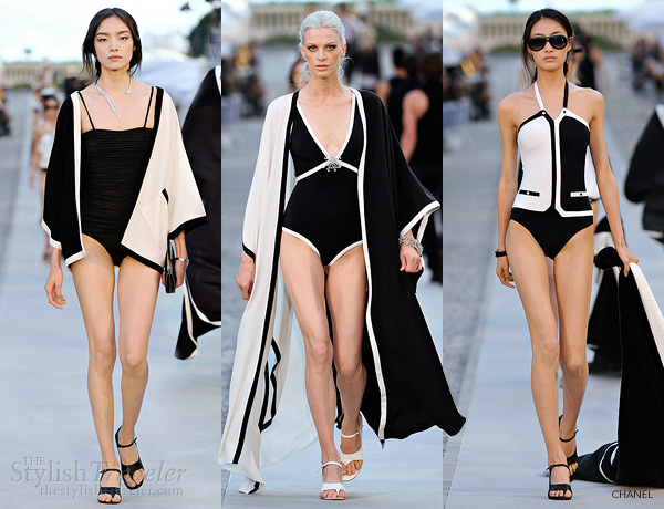 chanel bikini resort 2011-2012 ready-towear cruise collection - black and white monochromatic swimsuits and pool-side cover-ups